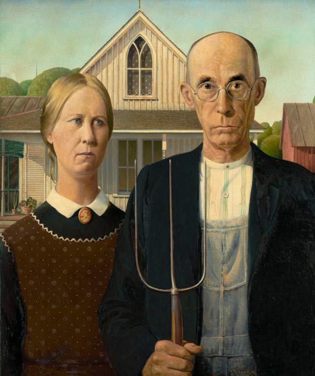 Американская живопись XX века. Грант Вуд. Американская готика (1930)