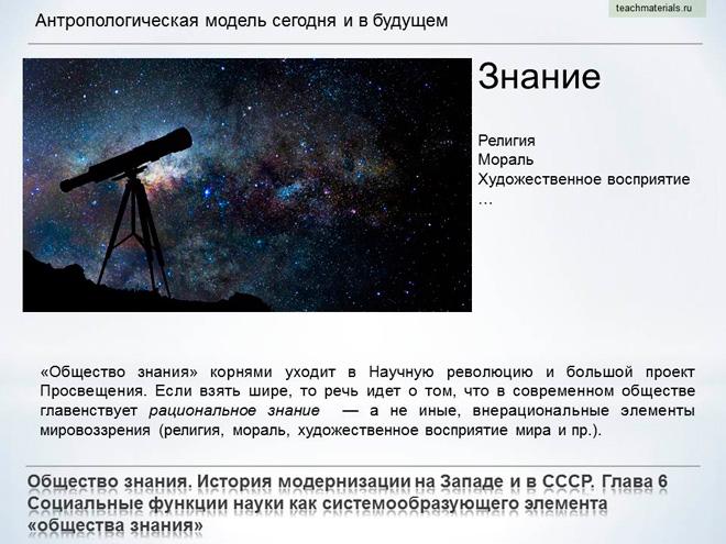 Общество знания. История модернизации на Западе и в СССР. Антропологическая модель сегодня и в будущем