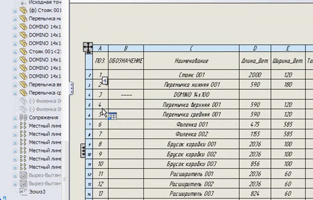 Таблица спецификации