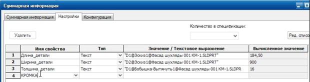 Добавляем в таблицу свойств детали параметр КРОМКА.