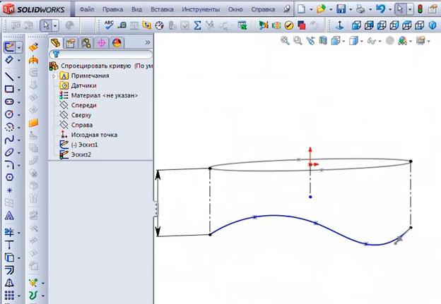 Строим линии справочной геометрии.